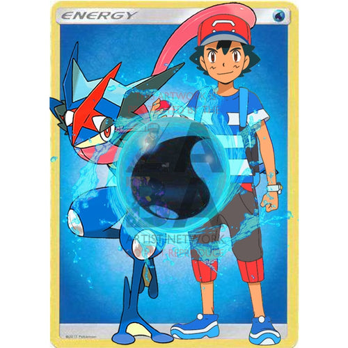 Ash-Greninja Water Energy Custom Pokemon Card +Water Effect / Single