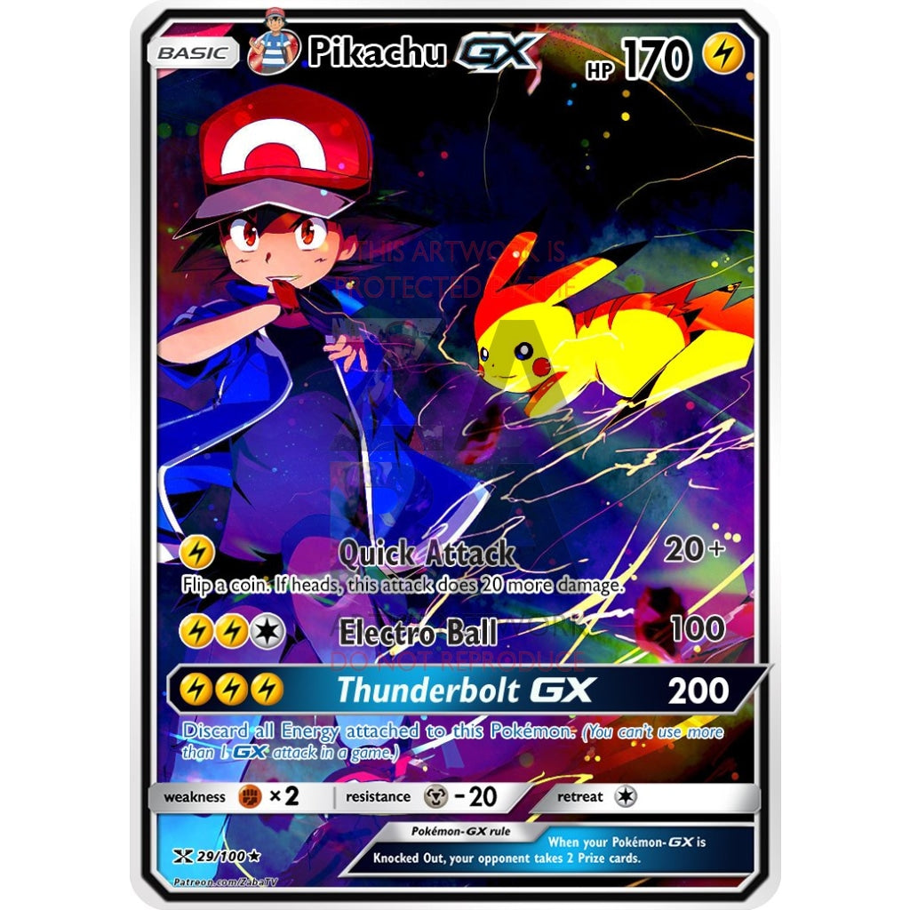 Ashs Pikachu Custom Pokemon Card