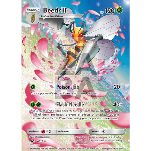 Beedrill 5/146 Xy Extended Art Custom Pokemon Card Silver Foil / Text