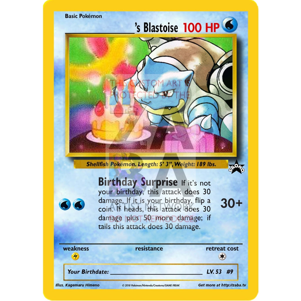 Birthday Blastoise Custom Pokemon Card Silver Holographic