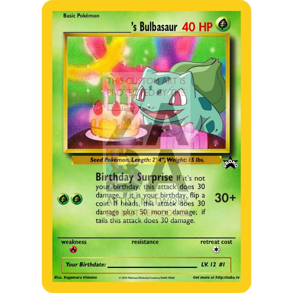 Birthday Bulbasaur Custom Pokemon Card Silver Holographic