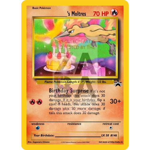 Birthday Moltres Custom Pokemon Card Silver Holographic