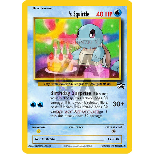 Birthday Squirtle Custom Pokemon Card Silver Holographic