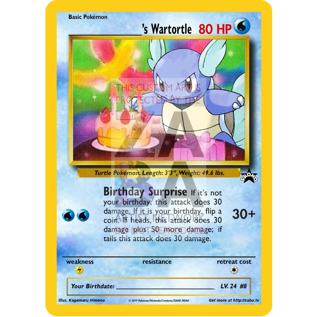 Birthday Wartortle Custom Pokemon Card Silver Holographic