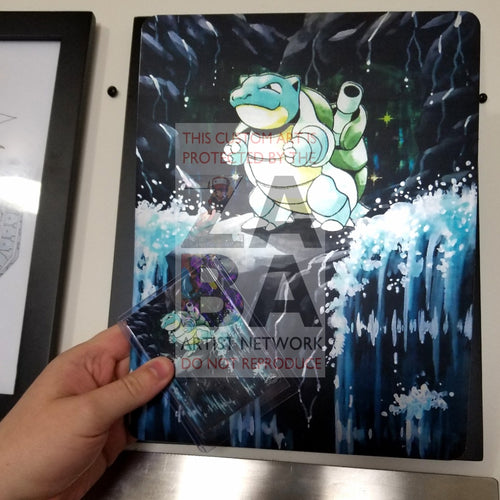 Blastoise 2/102 8X10.5 Holographic Poster + Card Gift Set Custom Pokemon