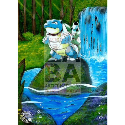 Blastoise 2/102 Base Set Extended Art Custom Pokemon Card Silver Holo