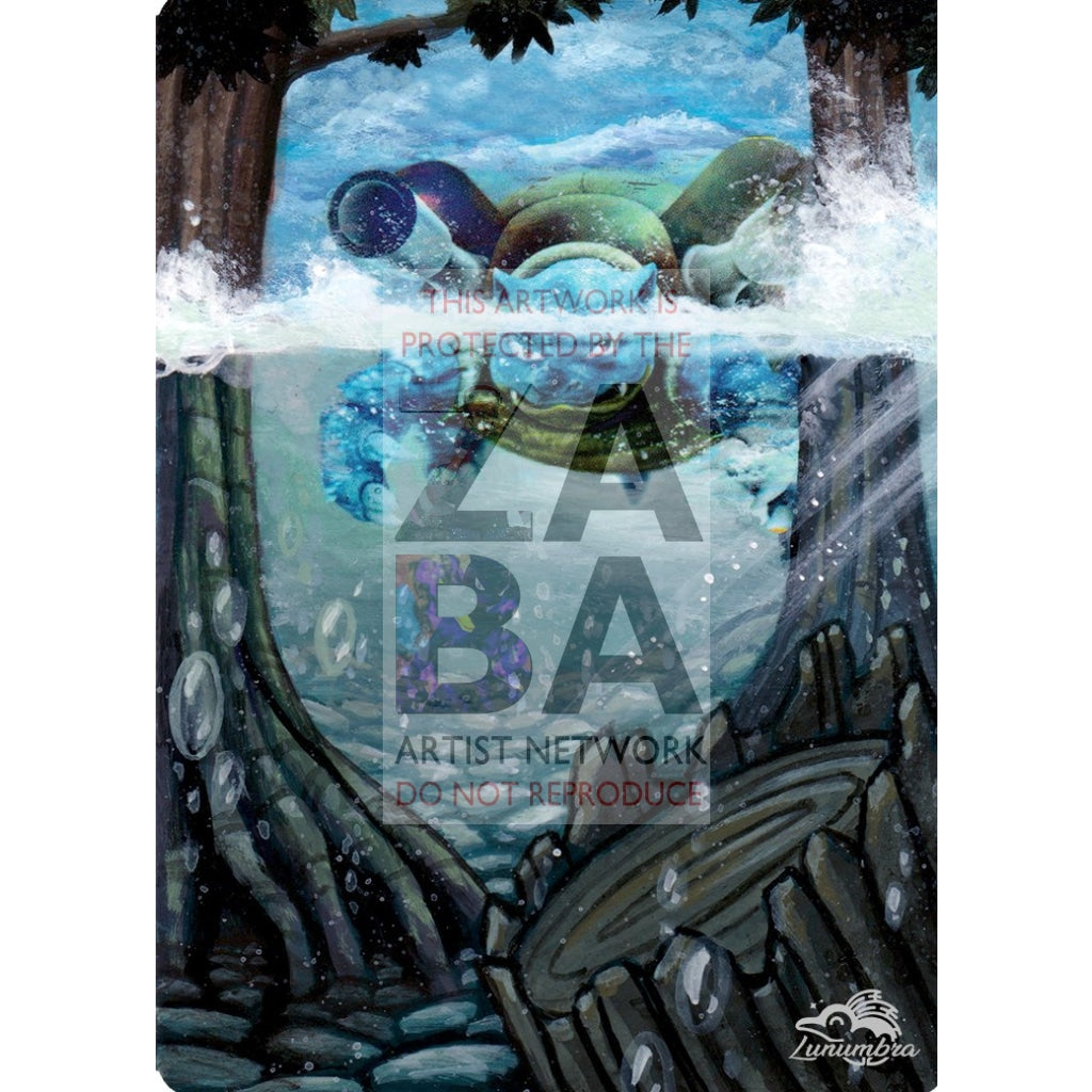 Blastoise 4/165 Expedition Extended Art Custom Pokemon Card Textless Silver Holographic