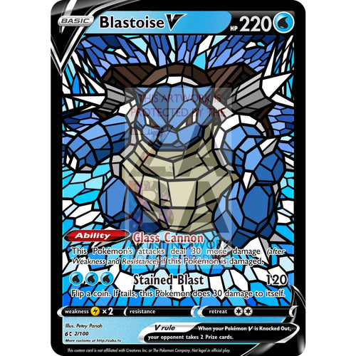 Blastoise V (Stained-Glass) Custom Pokemon Card Standard / With Text Silver Foil