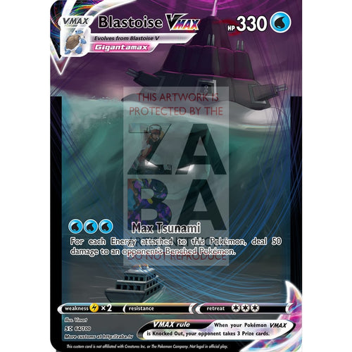 Blastoise Vmax Custom Pokemon Card Silver Foil