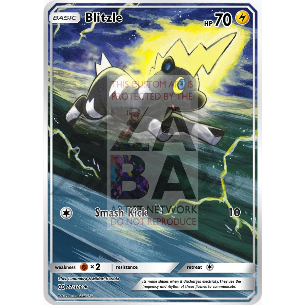 Blitzle 56/149 Boundaries Crossed Extended Art Custom Pokemon Card Non-Holographic