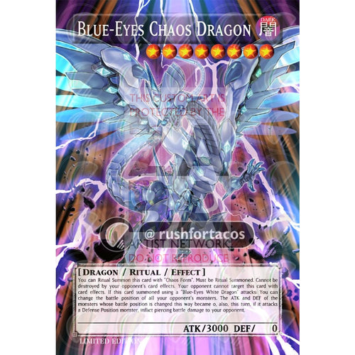 Blue-Eyes Chaos Dragon Full Art Orica - Custom Yu-Gi-Oh! Card Silver Holographic