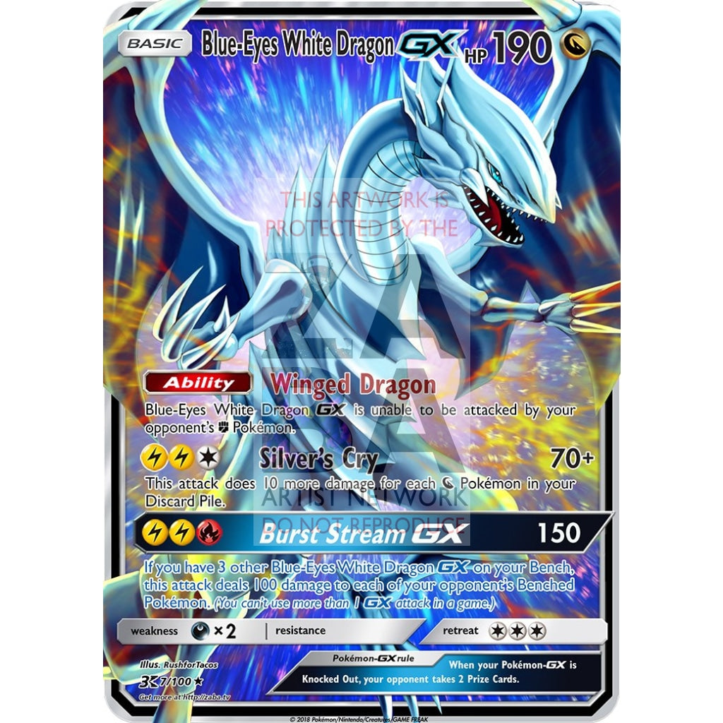 Blue-Eyes White Dragon Gx (Pokemon Yu-Gi-Oh! Crossover) Custom Pokemon Card Silver Holographic