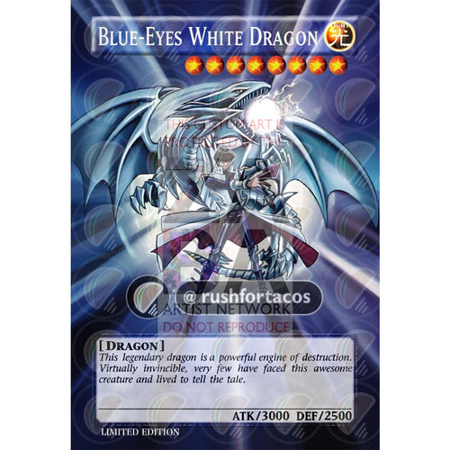 Blue Eyes White Dragon V.5 Full Art Orica - Custom Yu-Gi-Oh! Card Silver Holographic