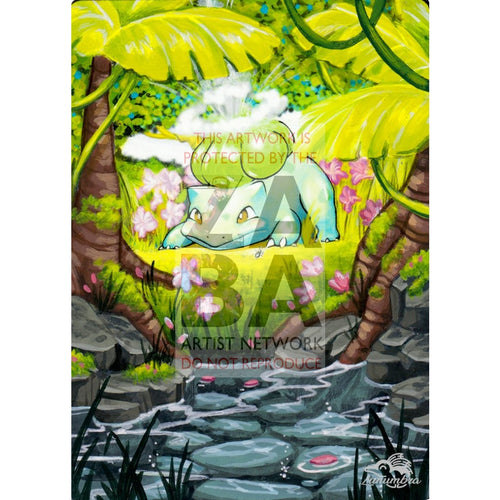 Bulbasaur 44/102 Base Set V.3 Extended Art Custom Pokemon Card Textless Silver Holographic