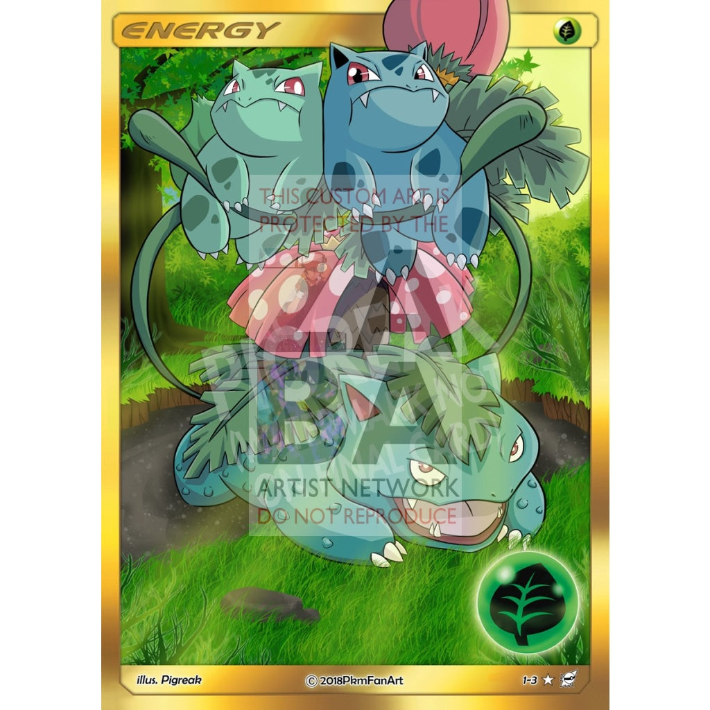 Bulbasaur Evolution Grass Energy Pigreak Custom Pokemon Card