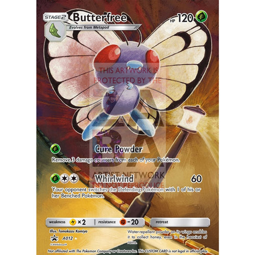 Butterfree 16/123 Heartgold & Soulsilver Extended Art Custom Pokemon Card Silver Foil / Text