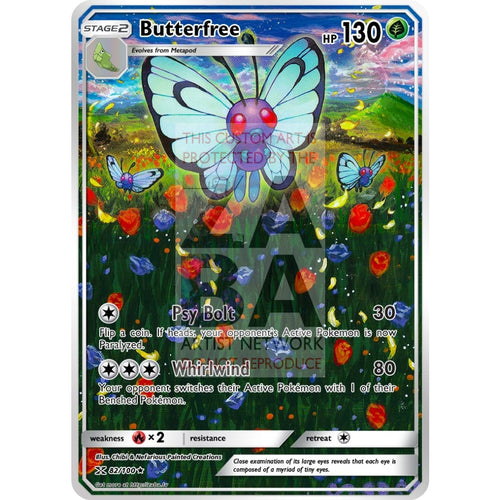 Butterfree 3/149 Sun & Moon Extended Art Custom Pokemon Card Silver Holo