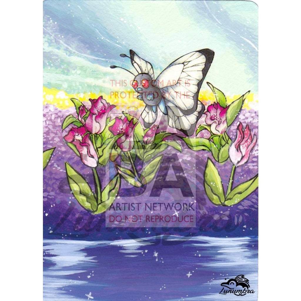 Butterfree 33/64 Jungle Extended Art Custom Pokemon Card Textless Silver Holographic