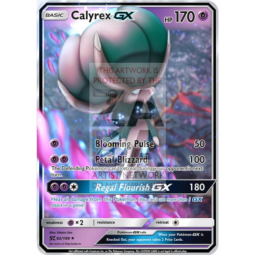 Calyrex Gx Custom Pokemon Card Silver Foil