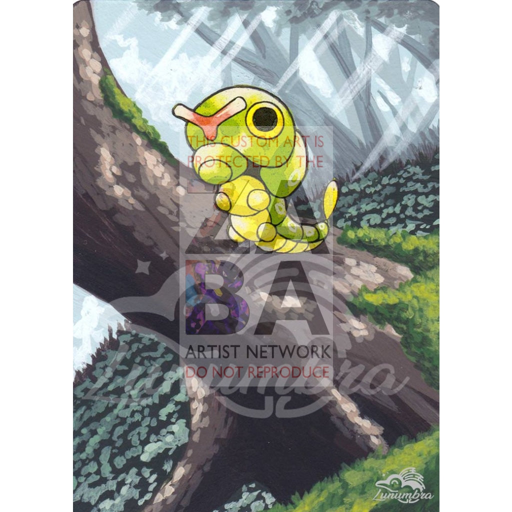 Caterpie 45/102 Base Set Extended Art Custom Pokemon Card Textless Silver Holographic