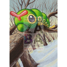 Caterpie 63/106 Diamond & Pearl Great Encounters Extended Art Custom Pokemon Card Textless Silver