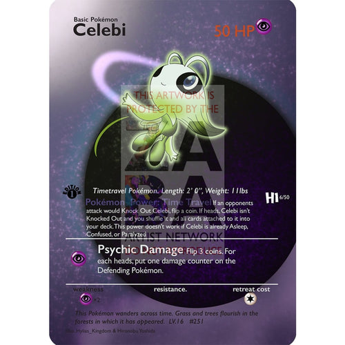 Celebi 3/64 Neo Revelation Extended Art Custom Pokemon Card Silver Foil