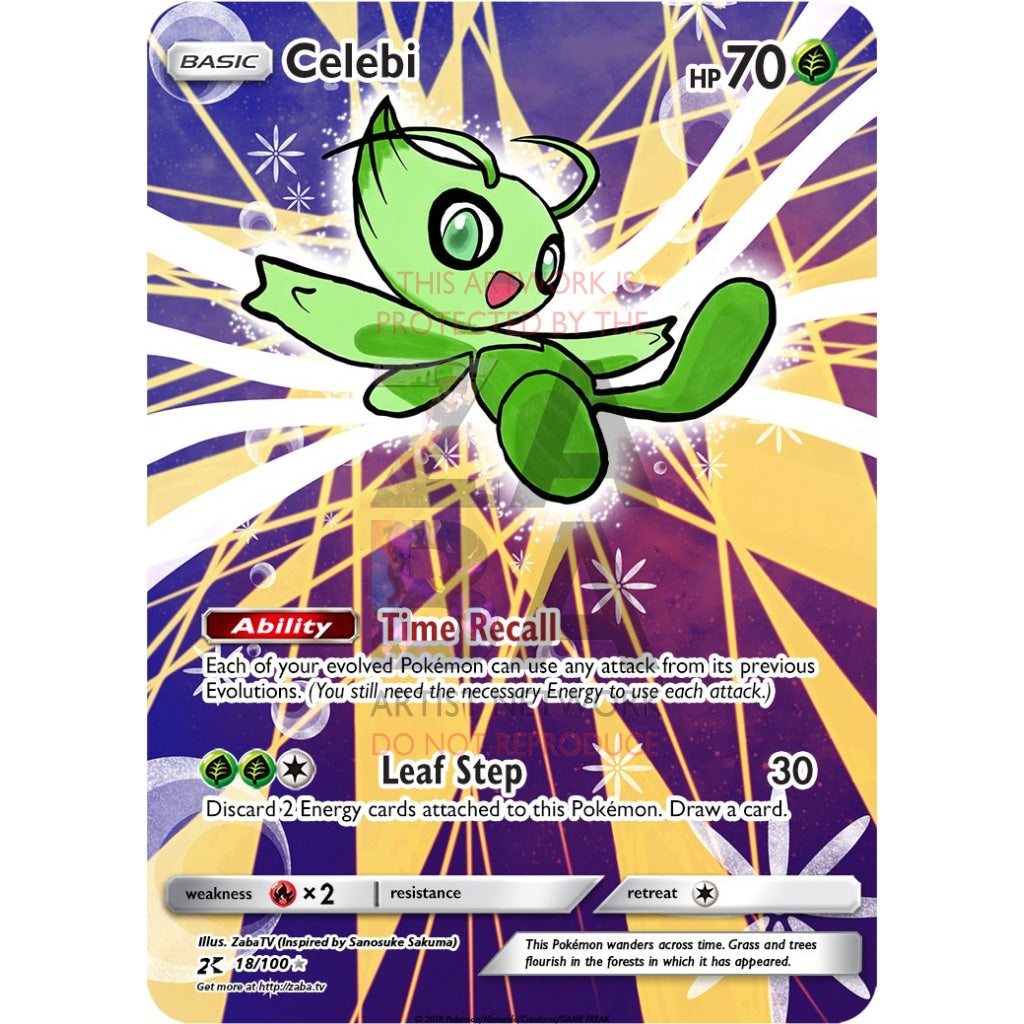 Celebi Sm79 Extended Art Custom Pokemon Card Silver Holographic