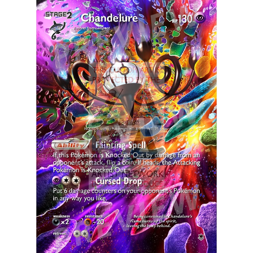 Chandelure 43/119 Phantom Forces Extended Art Custom Pokemon Card Silver Holographic