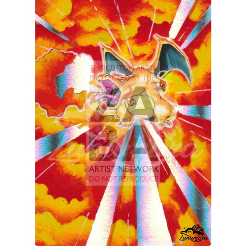 Charizard 11/108 Evolutions Extended Art Custom Pokemon Card Textless Silver Holographic