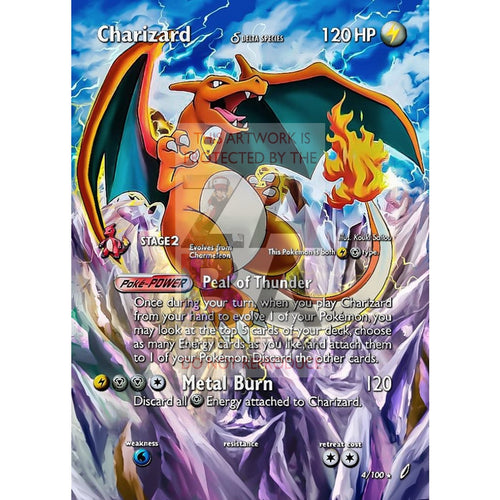 Charizard 4/100 Crystal Guardians Extended Art Custom Pokemon Card With Text