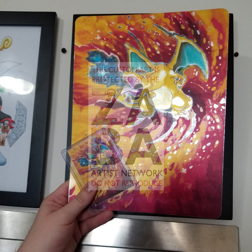 Charizard 4/102 8X10.5 Holographic Poster + Card Gift Set Custom Pokemon