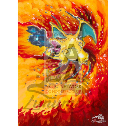 Charizard 4/102 Base Set (World First) Extended Art Custom Pokemon Card Textless Silver Holographic