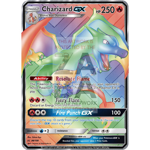 Charizard Gx Rainbow Rare Custom Pokemon Card Silver Foil