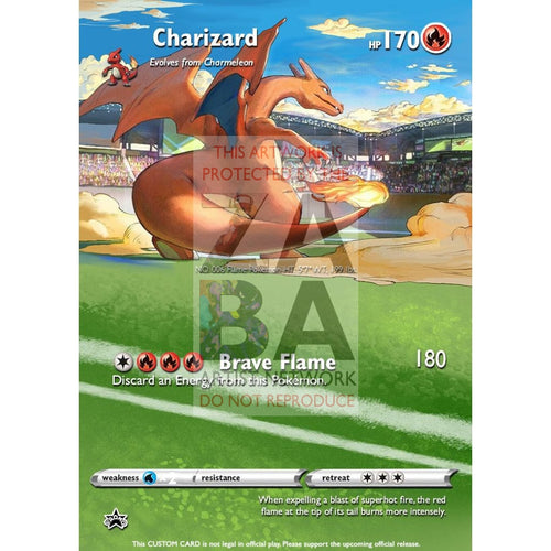 Charizard Japanese Promo 143 S-P Extended Art Custom Pokemon Card Silver Foil / With Text