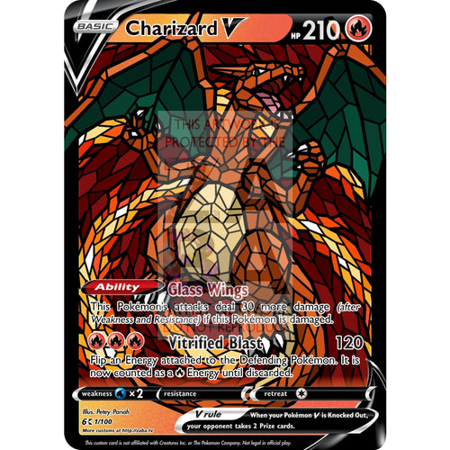 Charizard V (Stained-Glass) Custom Pokemon Card Standard / With Text Silver Foil