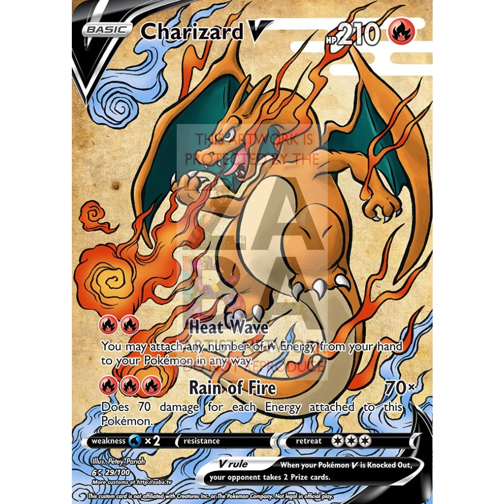 Charizard V (Traditional Japanese Style Inspired) Custom Pokemon Card Silver Holographic