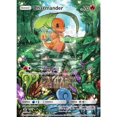 Charmander 1/70 Dragon Majesty Extended Art Custom Pokemon Card Silver Foil / Text