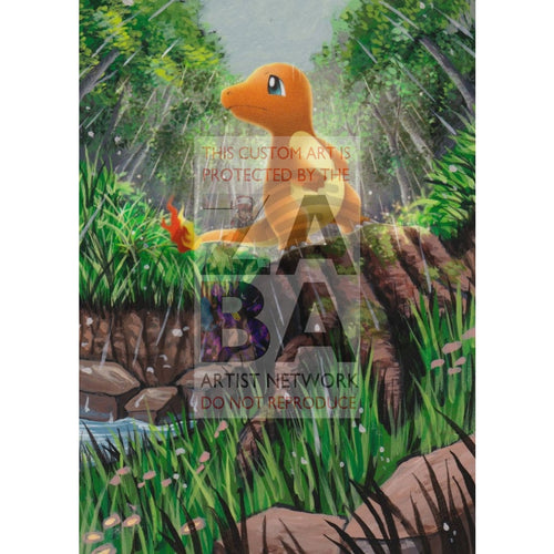 Charmander 18/147 Burning Shadows Extended Art Custom Pokemon Card Textless Silver Holographic