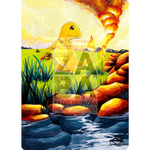 Charmander 46/102 Base Set V.2 Extended Art Custom Pokemon Card Textless Silver Holographic