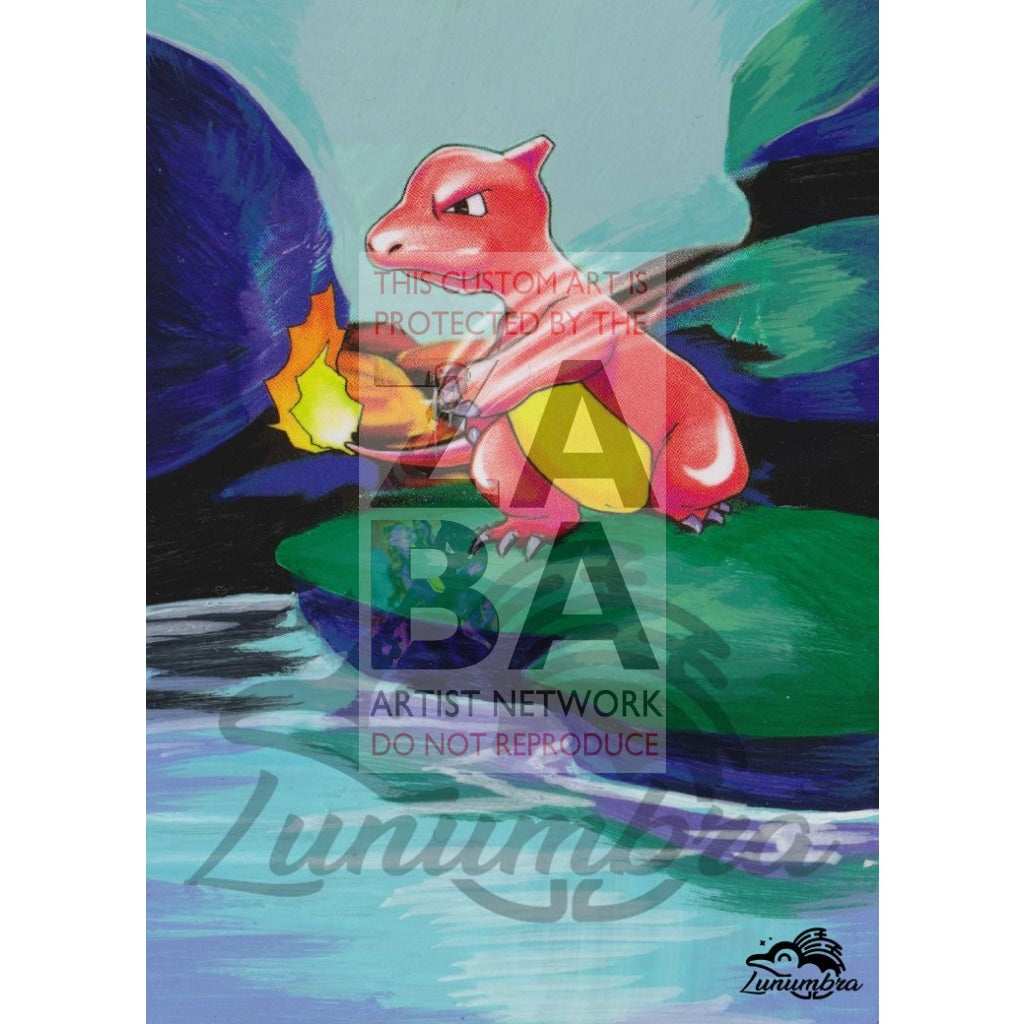 Charmeleon 24/102 Base Set Extended Art Custom Pokemon Card Textless Silver Holographic