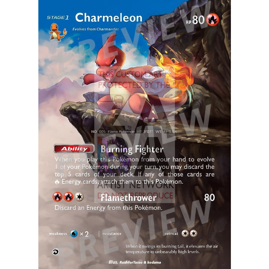 Charmeleon 2/70 Dragon Majesty Extended Art Custom Pokemon Card Silver Holographic