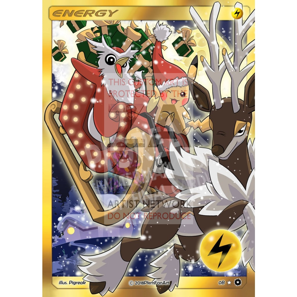 Christmas Pikachu Electric Energy Pigreak Custom Pokemon Card