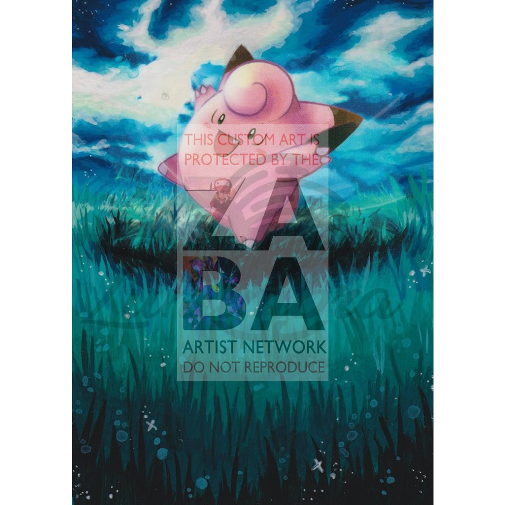 Clefairy 97/135 B&w Plasma Storm Extended Art Custom Pokemon Card Textless Silver Holographic
