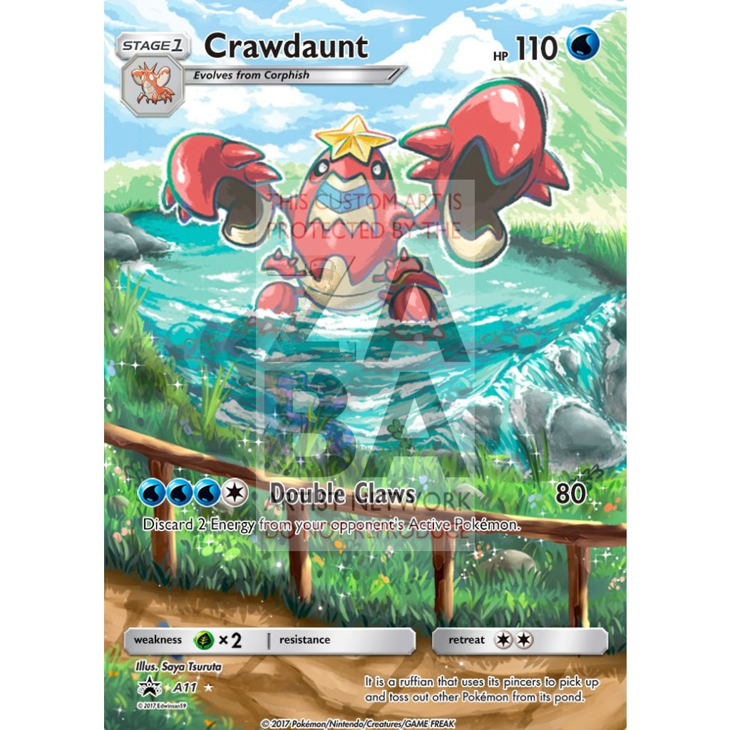 Crawdaunt 25/111 Crimson Invasion Extended Art Custom Pokemon Card Silver Holographic