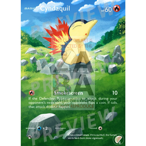 Cyndaquil 39/214 Lost Thunder Extended Art Custom Pokemon Card With Text Silver Foil