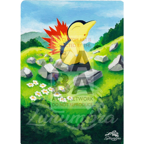 Cyndaquil 39/214 Sun & Moon Lost Thunder Extended Art Custom Pokemon Card Textless Silver