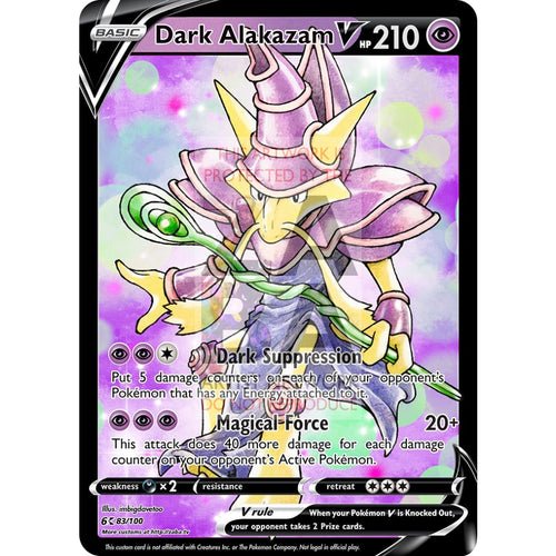 Dark Alakazam V Custom Pokemon Card Silver Foil