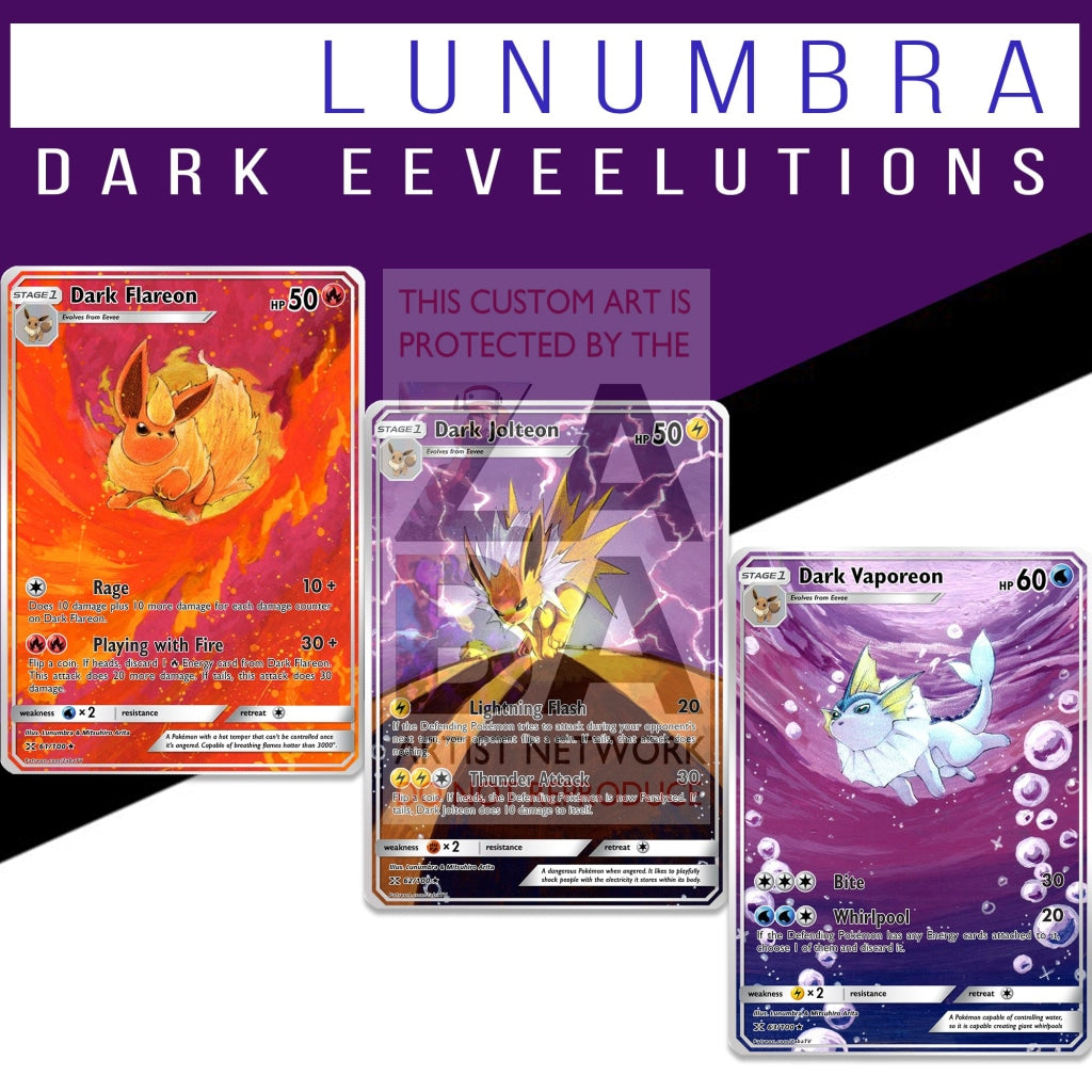 Dark Flareon Jolteon & Vaporeon Triple Pack Lunumbra Extended Arts! Non-Holographic Custom Pokemon