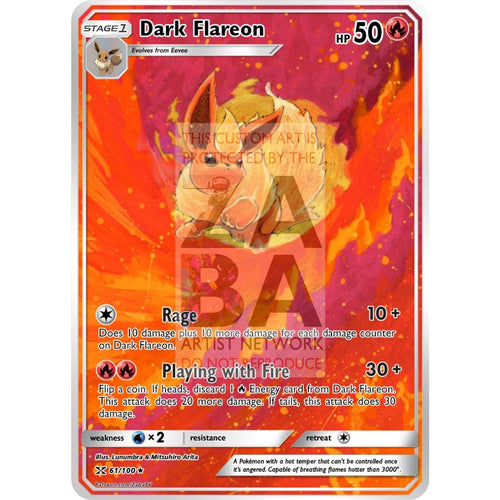 Dark Flareon Team Rocket 35/82 Extended Art Custom Pokemon Card Non-Holographic