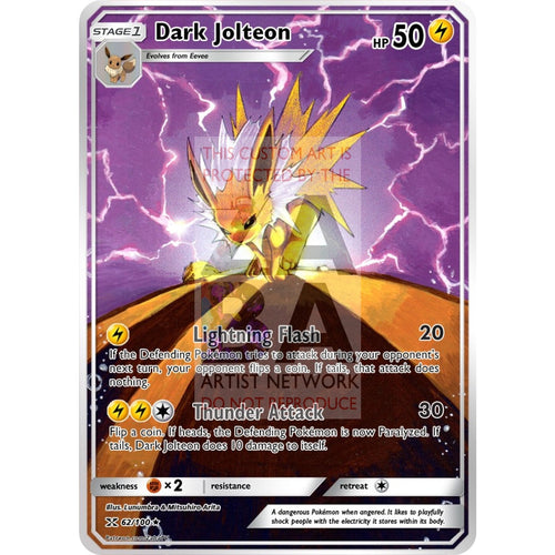 Dark Jolteon Team Rocket 38/82 Extended Art Custom Pokemon Card Non-Holographic
